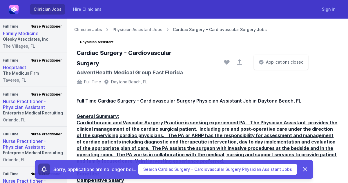 Full Time Cardiac Surgery Cardiovascular Surgery Physician Assistant Job Opening In Daytona Beach Fl