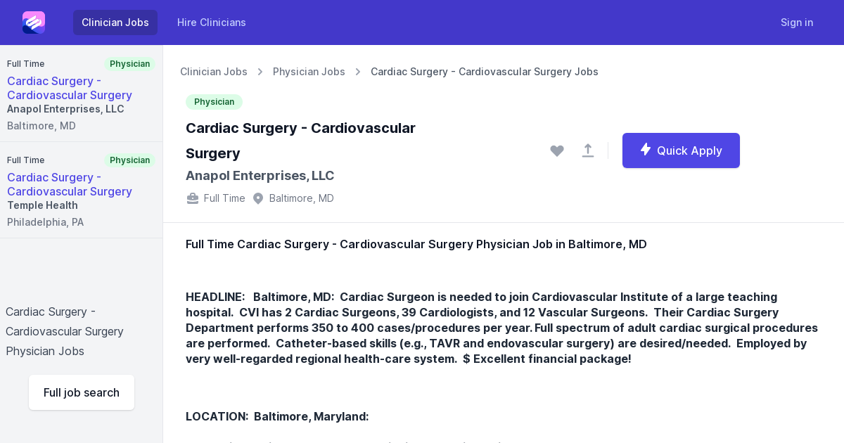 Full Time Cardiac Surgery Cardiovascular Surgery Physician Job Opening In Baltimore Md
