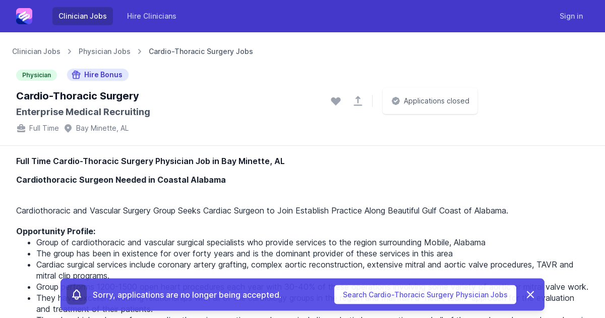 Full Time Cardio Thoracic Surgery Physician Job Opening In Bay Minette Al
