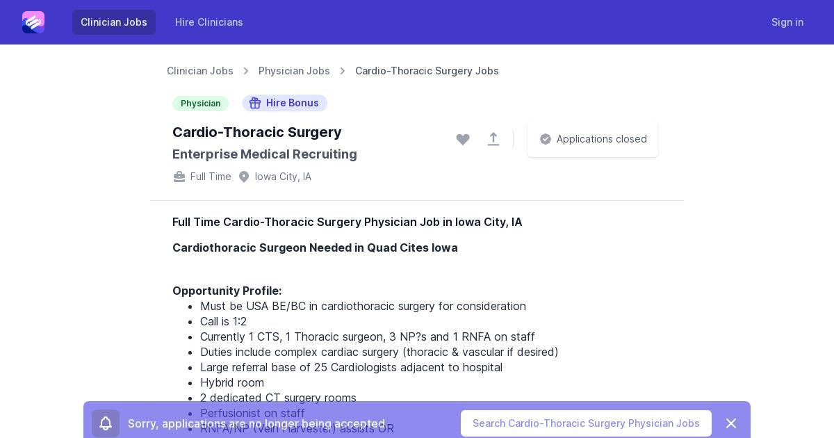 Full Time Cardio Thoracic Surgery Physician Job Opening In Iowa City Ia