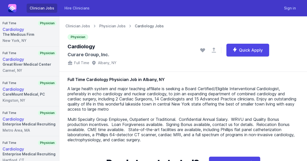 Full Time Cardiology Physician Job Opening In Albany Ny